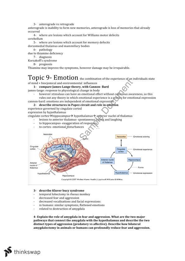 Neurobiology Exam Notes   2020MSC - Neurobiology   Thinkswap