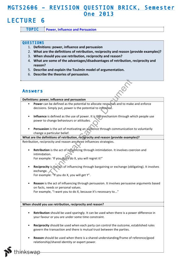 Final Exam Notes | MGTS2606 - Managerial Skills & Communication ...