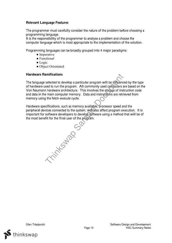 Software Design And Development Notes Year 12 Hsc Software Design And Development Thinkswap