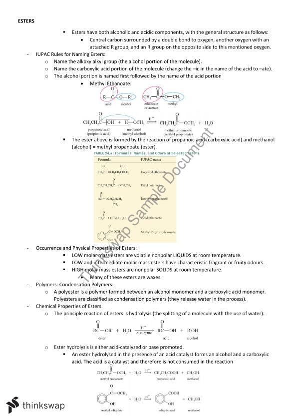 Chemistry of Biological Systems Notes