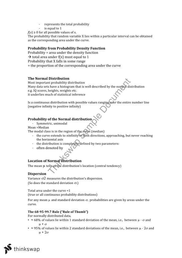 Business Statistics Notes | ETF1100 - Business Statistics