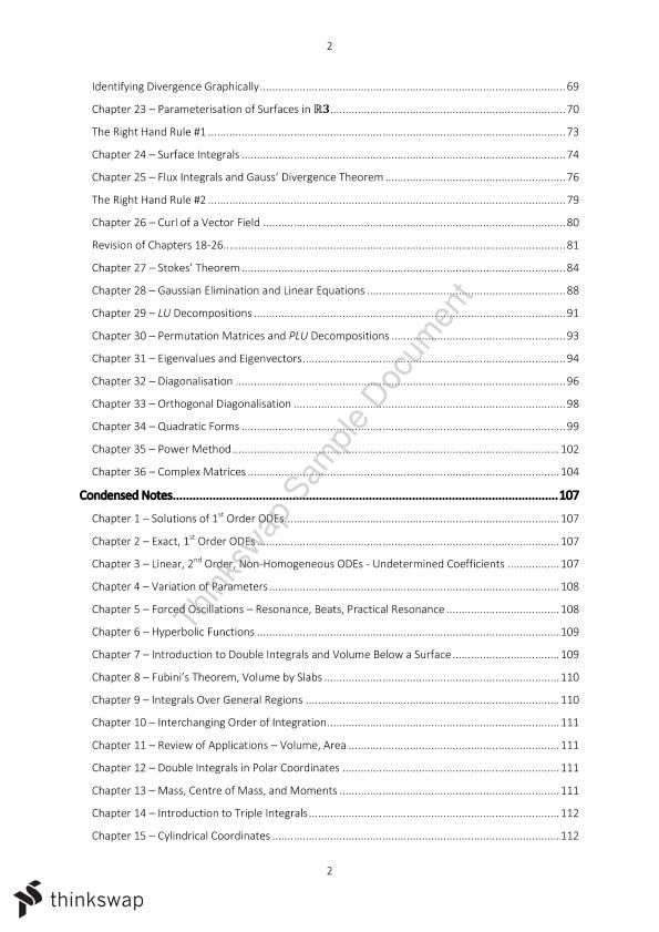 MATH2000: Calculus & Linear Algebra II - Course Notes