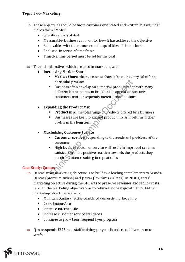 Marketing Notes Business Studies HSC | Year 12 HSC - Business