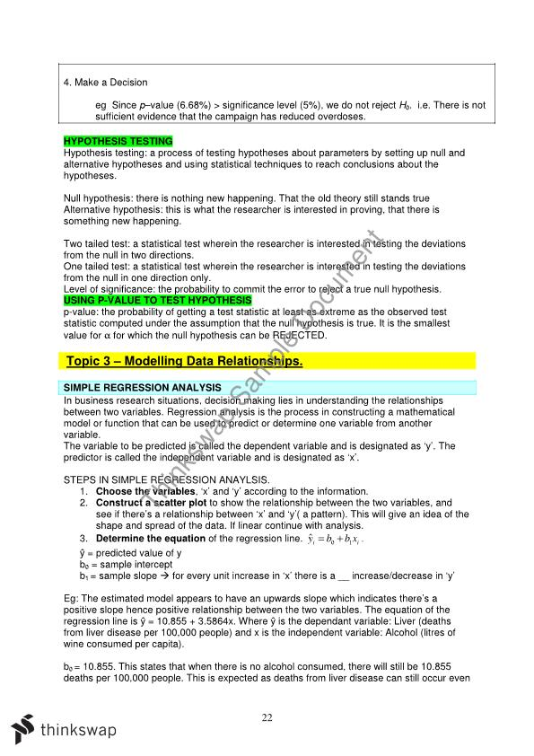 Etc1000 Notes - Business And Economic Statistics Notes For First