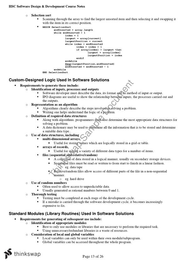 Hsc Software Design Development Complete Notes Year 12 Hsc Software Design And Development Thinkswap