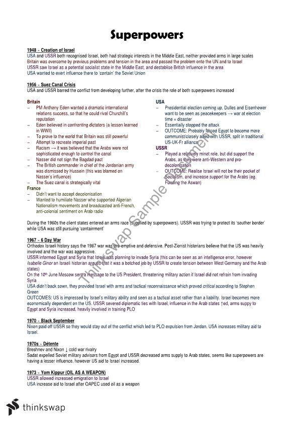 arab-israeli conflict notes | year 12 hsc - modern history | thinkswap