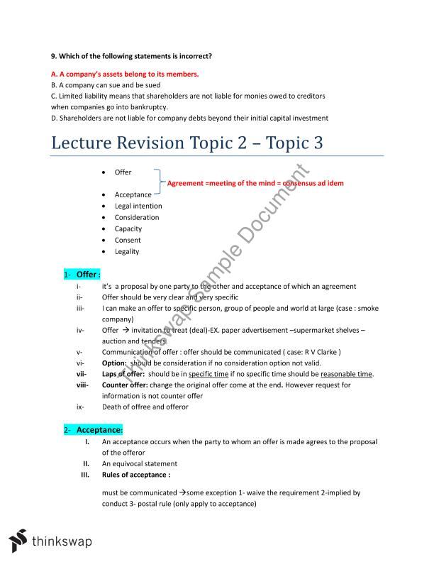 Exam revision and Solutions for Most Questions of Set 1 & 2
