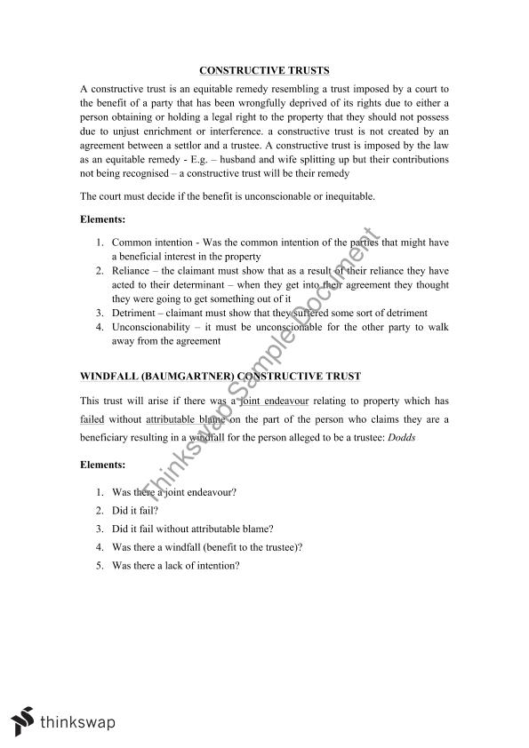 Trusts Exam and Unit Notes