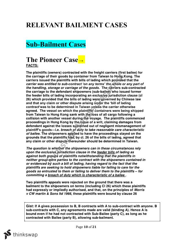 Bailment Notes 200014 Commercial Law Thinkswap