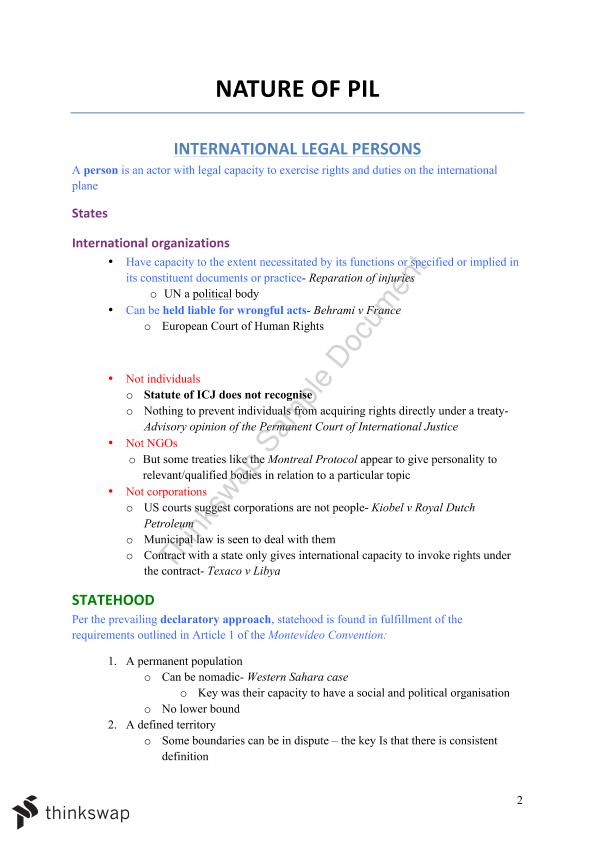 Full Course Notes for Public International Law | LAWS1023