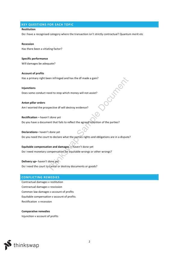 Remedies Exam Notes   LW405 - Remedies   Thinkswap