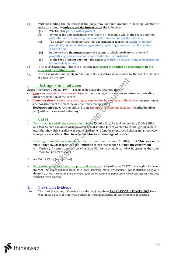 Complete Evidence Exam Notes