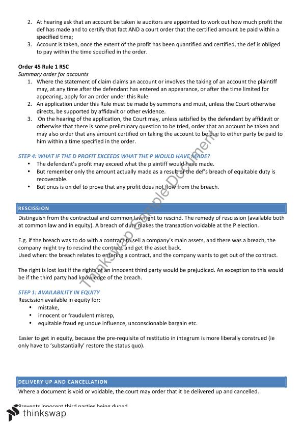 Equity Exam Notes   LLB251 - Equity   Thinkswap
