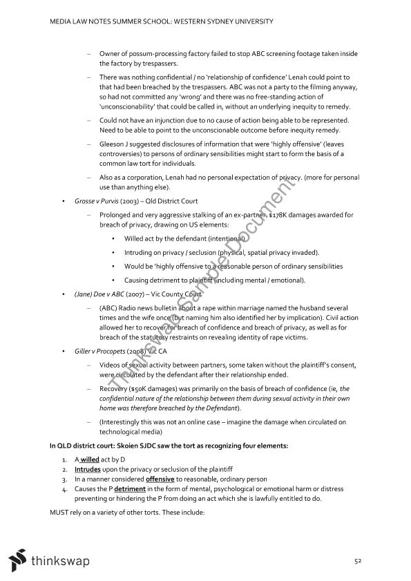 Media Law Full Exam Notes