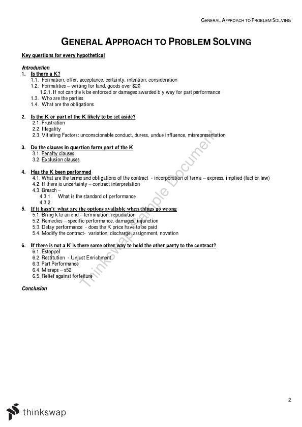 Contract b summary law251 contract law thinkswap for B b contract