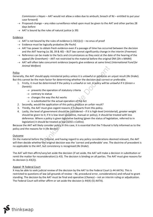 70617 HD Administrative Law Exam Notes