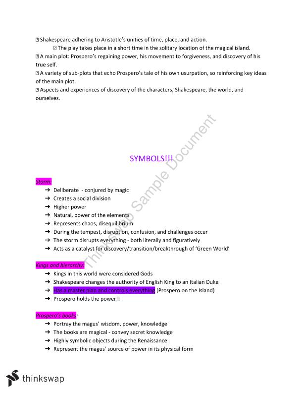 English Advanced Tempest notes | Year 12 HSC - English