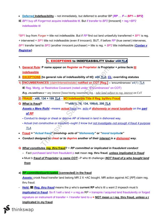 Complete Exam Notes | LLB253 - Property Law A | Thinkswap