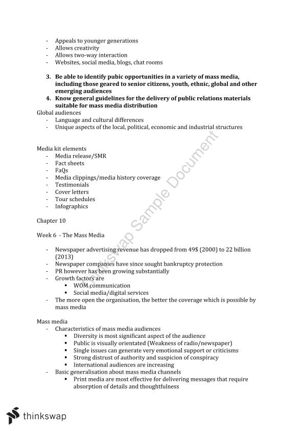 MKTG3119 Public Relations Management Final Study Notes | MKTG3119