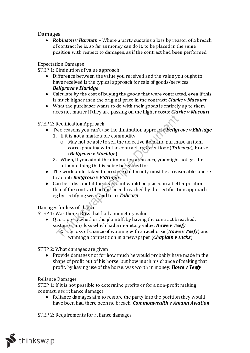Detailed and Refined Contracts Exam Notes