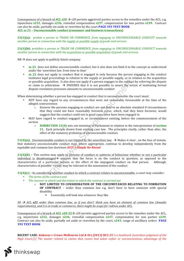 Civil obligations b exam notes law1123 civil for B b contract