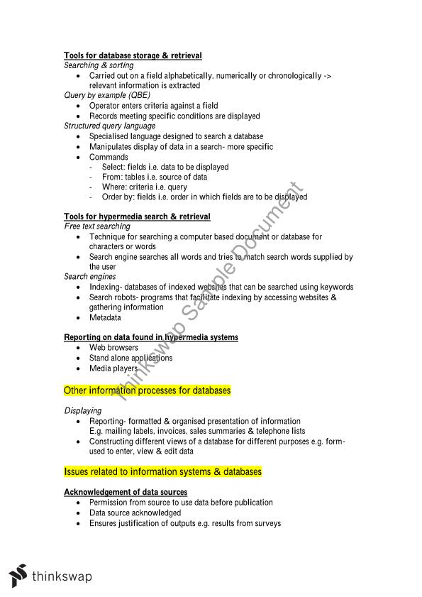Information Process Technology - Study Notes