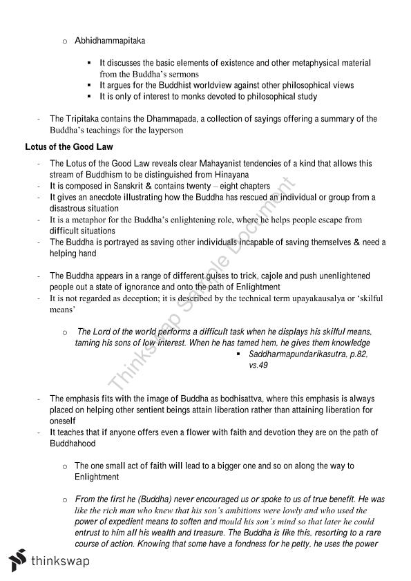 Preliminary Studies of Religion Notes: Buddhism