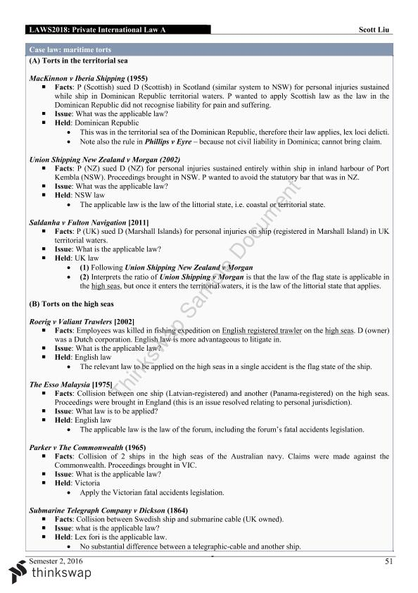 Complete Study Notes for Final Exam for LAWS2018 - Private International Law A - Page 51