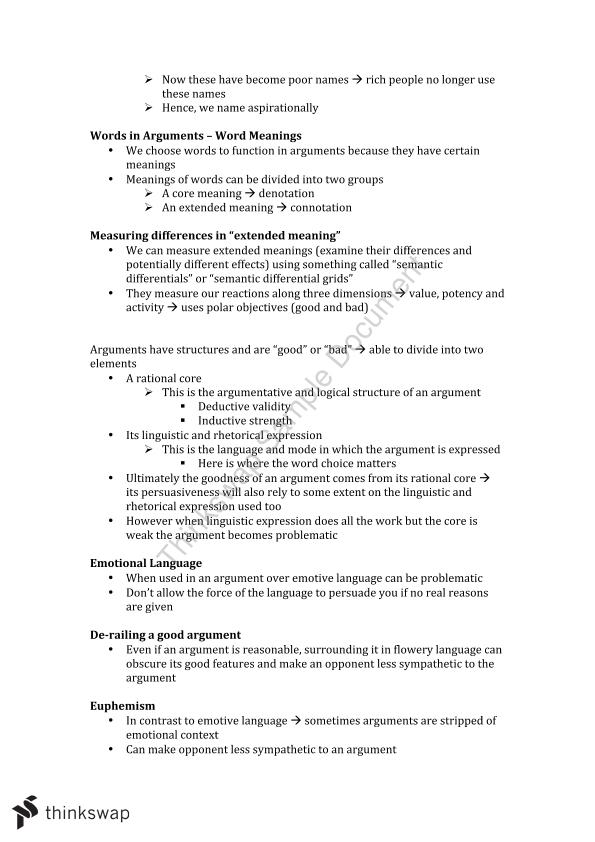 Full Study Notes for Critical Thinking (PHL137)