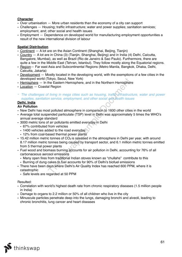 Complete HSC Geography Notes Band 6 Selective School