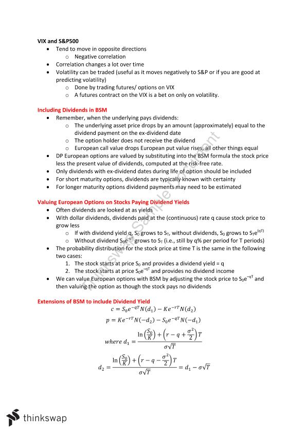 FINCE30007 Derivative Securities Complete Notes (HD: 92)