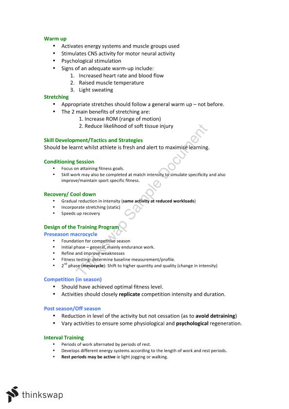 Full Notes for Physical Education Units 3/4 | Year 12 VCE