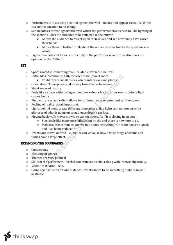 Year 12 Dance ATAR Notes | Year 12 WACE - Dance | Thinkswap