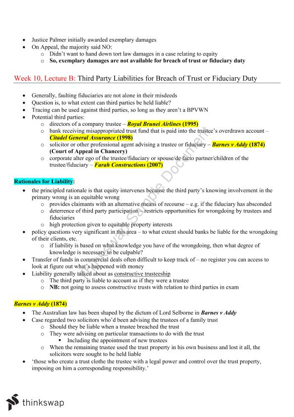 LAWS2205 Equity and Trusts Exam Notes
