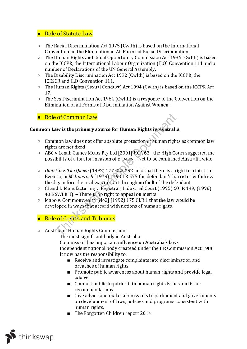 HSC Legal Studies Complete Human Rights Notes | Year 12 HSC