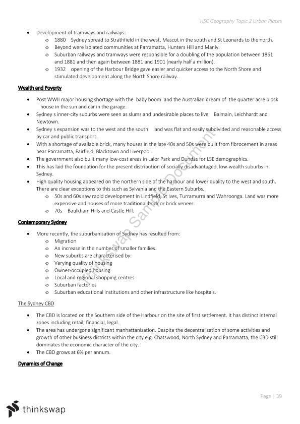 Urban Places Notes | Year 12 HSC - Geography | Thinkswap