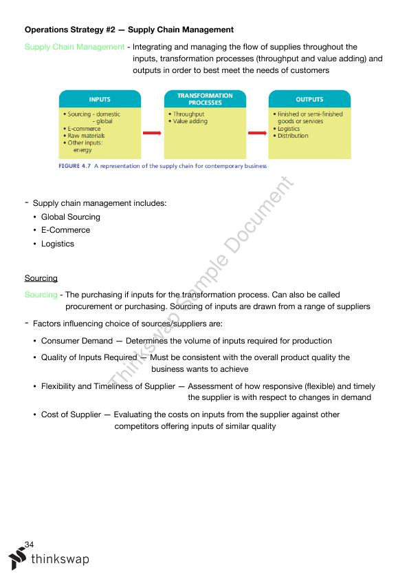 Operations Notes | Year 12 HSC - Business Studies | Thinkswap