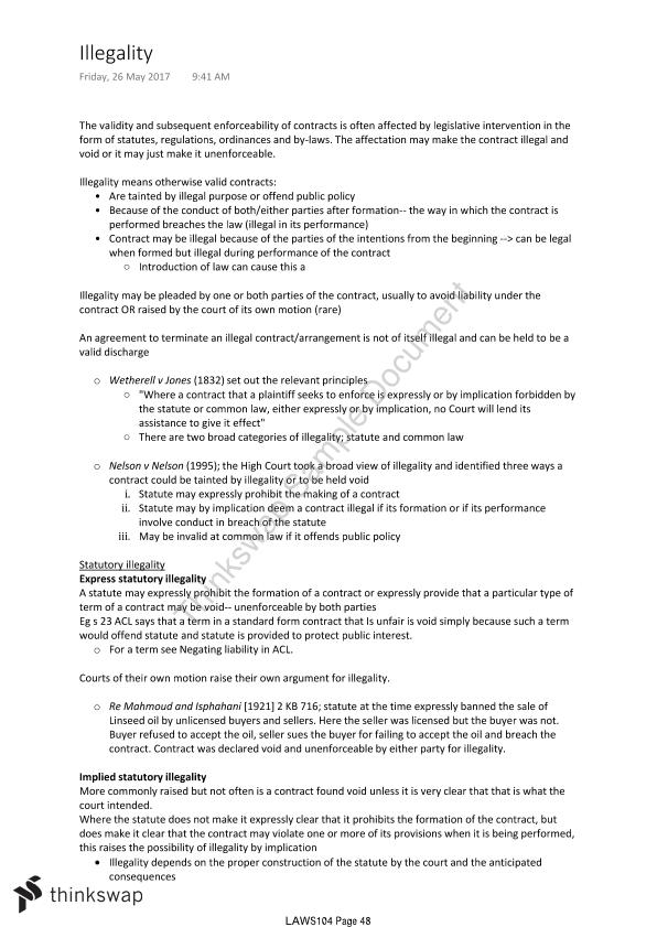 Contracts Full Lecture Notes Laws104 Contracts Thinkswap