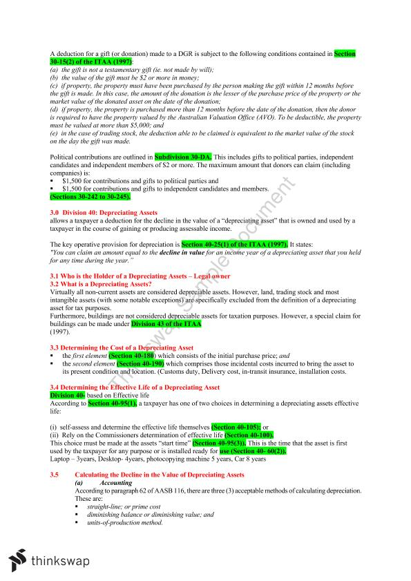 AYB219 Taxation Law Notes Weeks 1-6 | AYB219 - Taxation Law