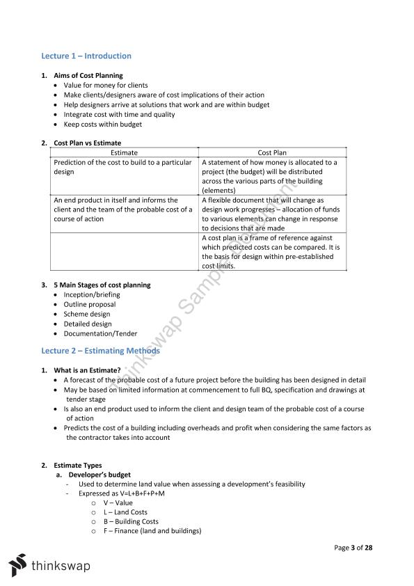Cost Management 3: Cost Planning Notes