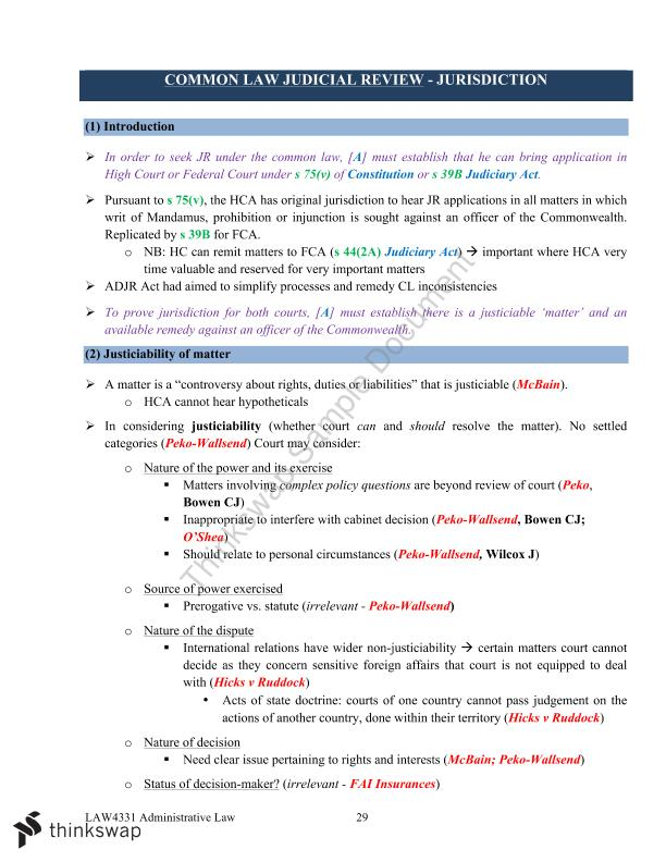 Complete LAW4331 Admin Exam Notes