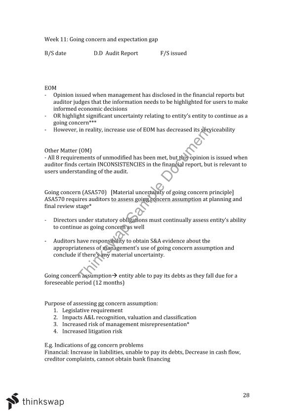 ACCT3014 Audit & Assurance Full Notes