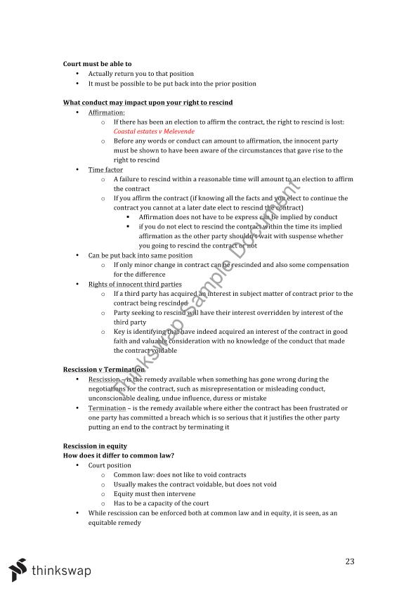 Final exam notes and attack plans for Contract Law B