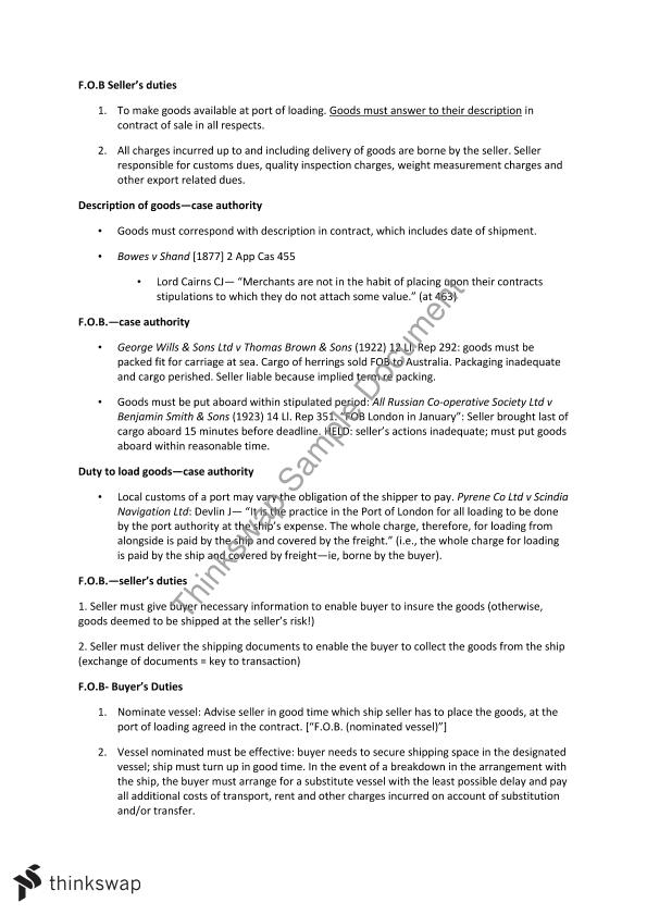 International Commercial Law - Final Exam Answer Guides