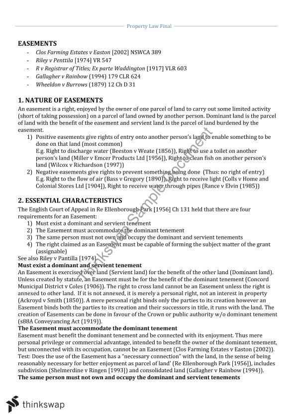 Land law study notes uk