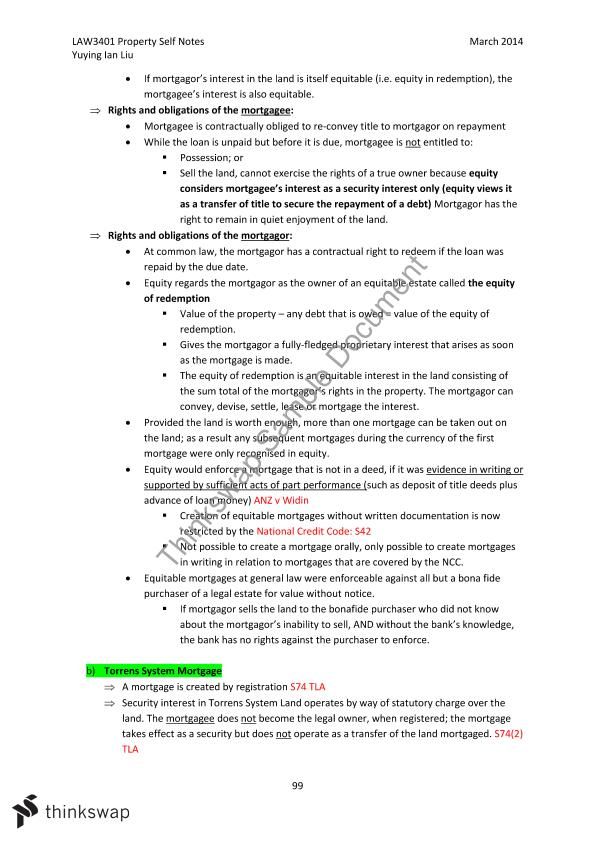 Complete Course Notes - Property Law A
