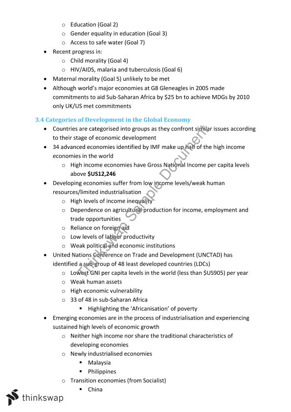 HSC The Global Economy Notes