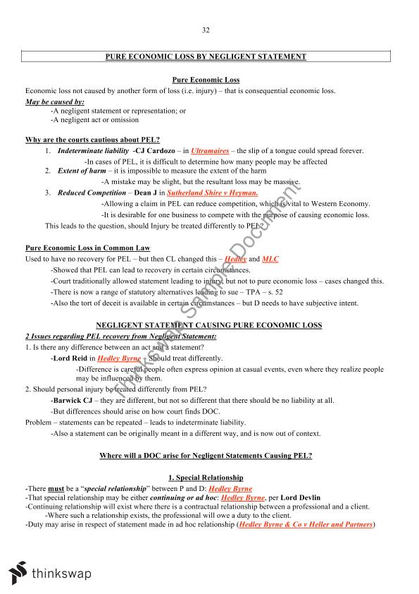 Torts B Negligence Notes   LAW2201 - Torts A   Thinkswap
