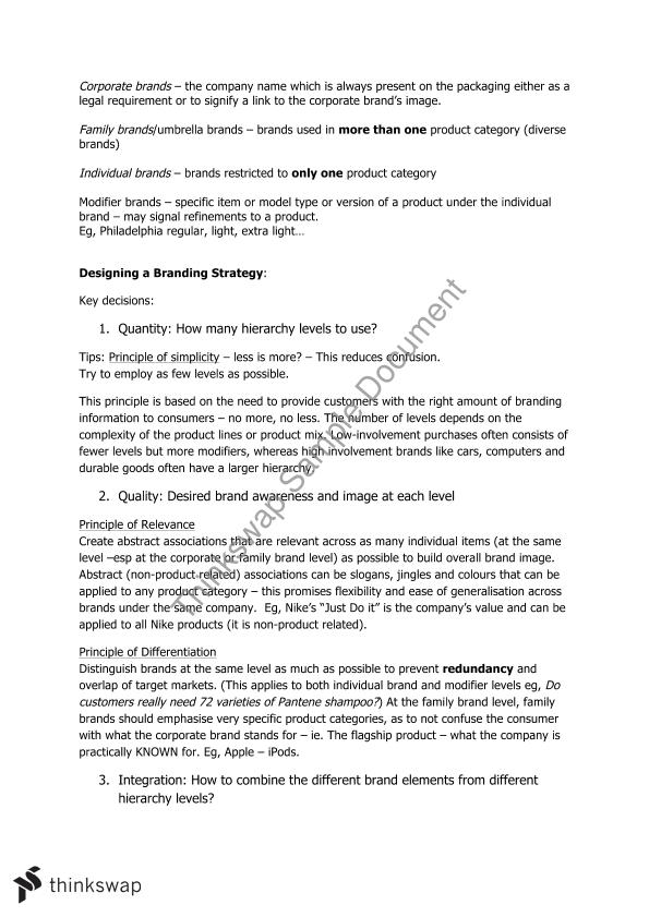 Brand Management Study Notes and Examples   MKTG20006 - Brand ...