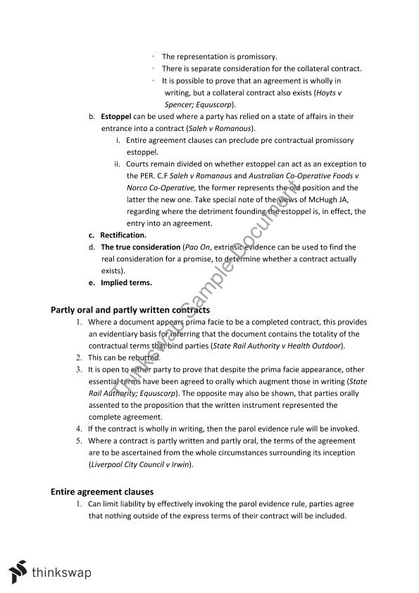 Contracts A Monash Law Law2101 Contract A Thinkswap